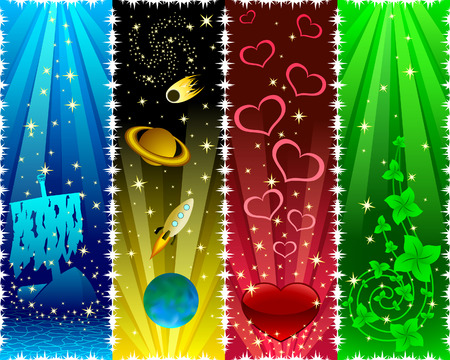 Vertical banners with stars Vector