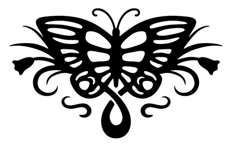 vector decoration: Abstract tattoo with butterfly