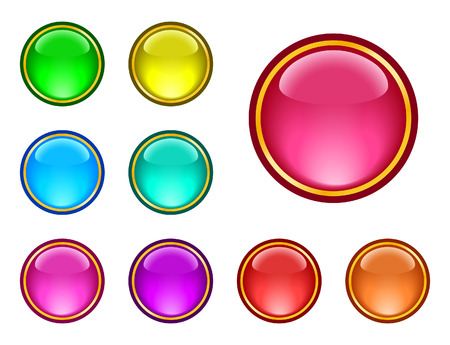 Set of glassy ring buttons Vector
