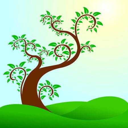 Abstract swirly tree Stock Vector - 5526107