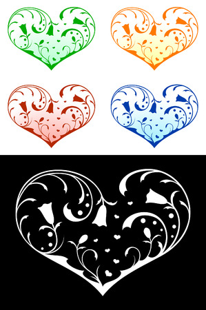 Vector hearts with floral decorations Vector