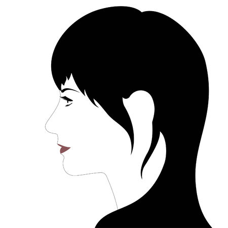 Profile of a young girl in vector Vector