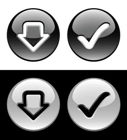 Black and white ring buttons  Vector