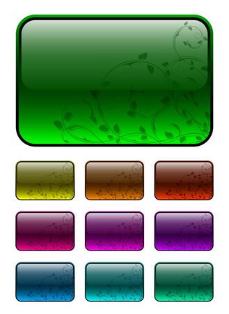 Glassy buttons with floral decorations Vector