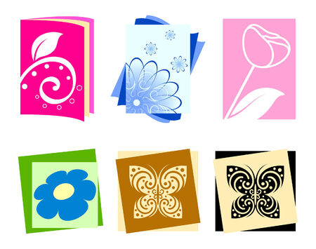 Icons with flowers and butterflies Vector