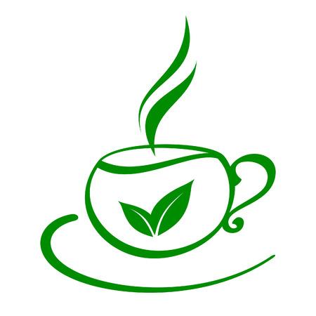 wei�er tee: Stilisierten Tasse Tee Illustration