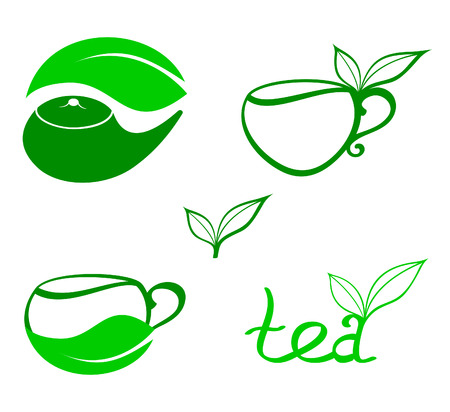 tea leaf: Tea icons or logos