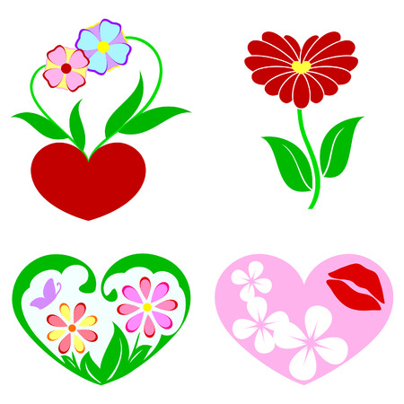 silueta: Icons with flowers