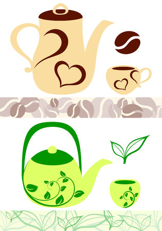 Coffee and tea illustrations Stock Vector - 6801889