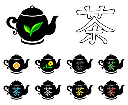 chinese tea cup: Colecci�n de t�  Vectores