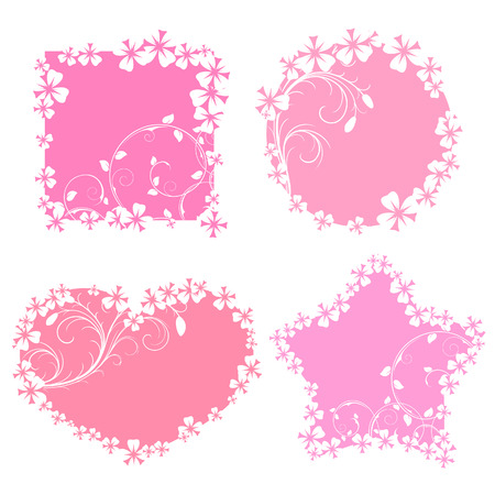 Romantic banners with flowers Vector