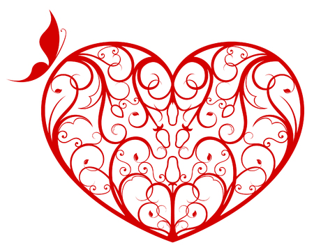 silueta: Ornate heart Illustration