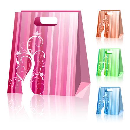 gift basket: Striped shopping bags
