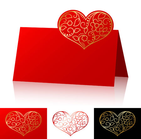 Card with asymmetric ornate heart Stock Vector - 6920895