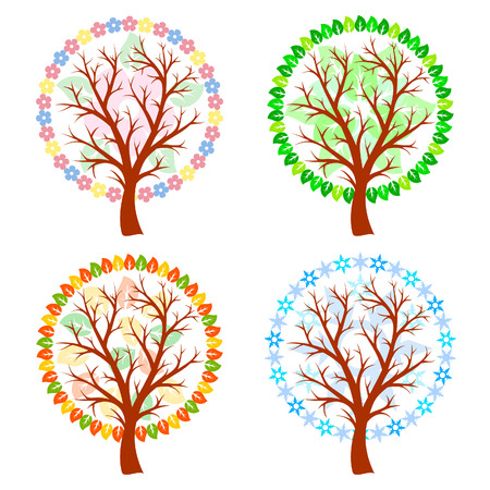 Abstract trees - four seasons Vector