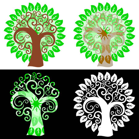 Abstract swirly trees Stock Vector - 6969119
