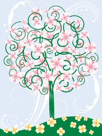 Card with blooming tree Stock Vector - 7060126