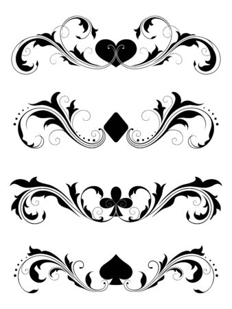 playing card symbols: Design elements (4 suits) Illustration