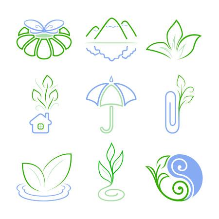 logotipo animal: Iconos de naturaleza 1. Iconos abstractas o logotipos.  Vectores