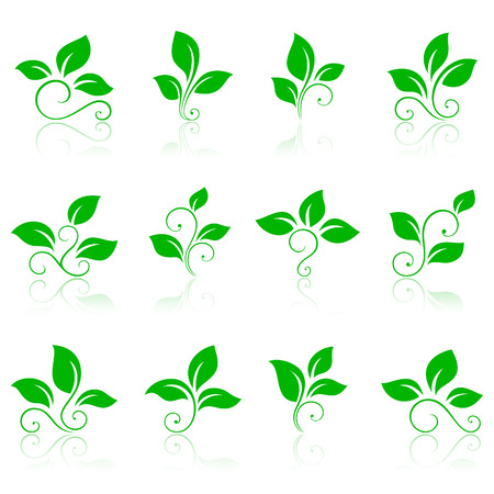 Nature icons 2. Green icons or logos.  Vector