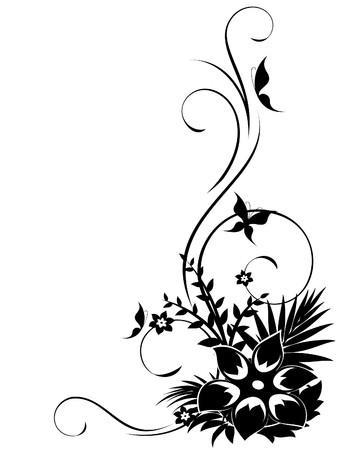 esquineros florales: Esquina floral abstracto con remolinos