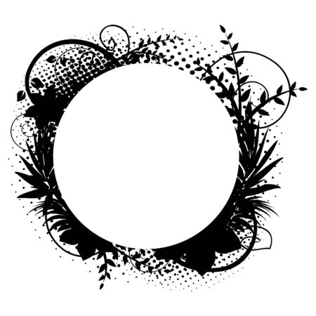 vintage grunge image: Cornice di cerchio con decorazioni floreali 2