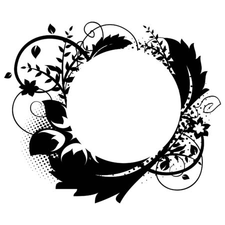Circle frame with floral decorations 1 Vector