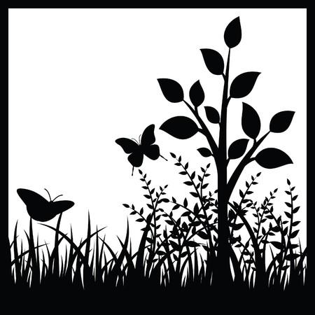 silueta: Small tree and butterflies