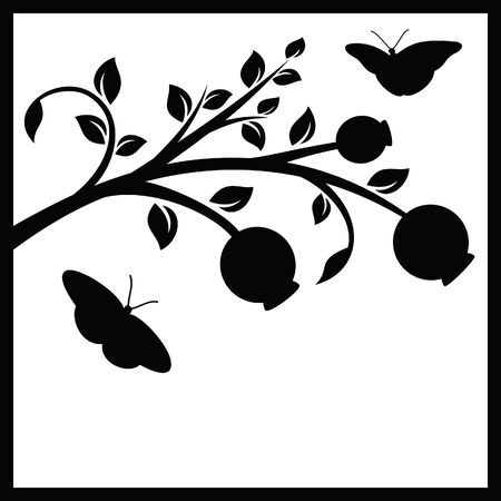Tree branch and butterflies Vector