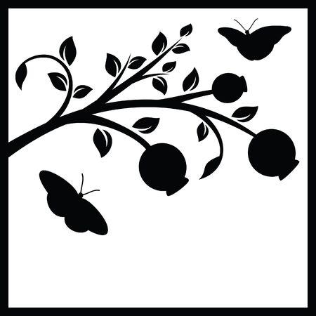 silueta: Tree branch and butterflies