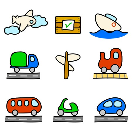 Transportation icons (color variation) Vector