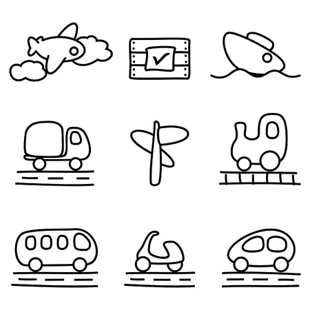Transportation icons (black and white variation) Vector
