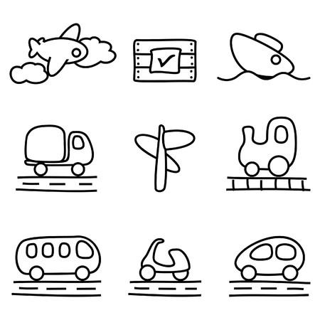 silueta: Transportation icons (black and white variation) Illustration