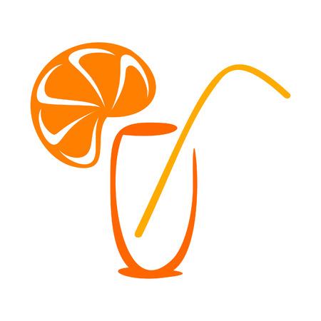 orange juice glass: Icona di succo stilizzato Vettoriali