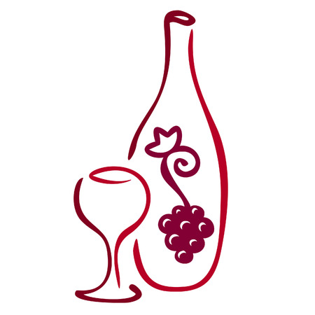 vine bottle: Stylized wine icon