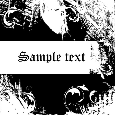 Grunge backdrop-1 (black with floral decorations) Vector