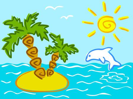ray trace: Ilustraci�n de verano y las vacaciones de dibujos animados