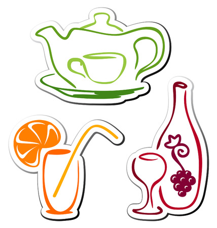 Stylized drink icons Stock Vector - 8264905