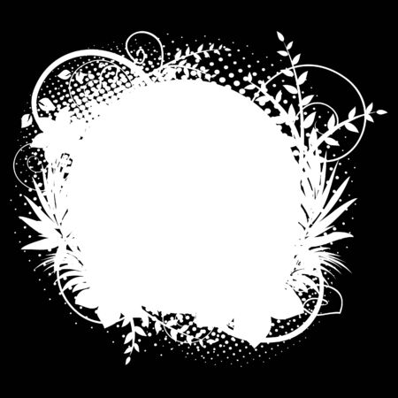 Circle frame with floral decorations 2 (on black) Vector