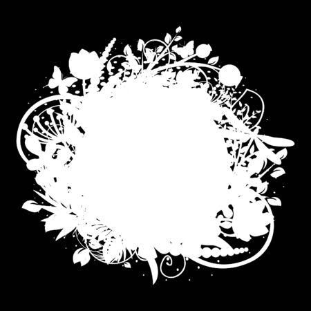 Circle frame with floral decorations 3 (on black) Vector