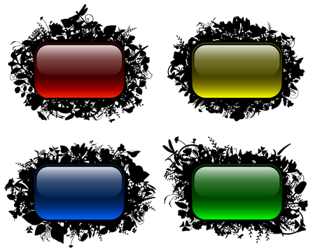 Glassy buttons in floral frames Stock Vector - 8549079