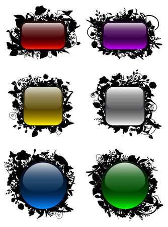 Glassy buttons in floral frames Vector