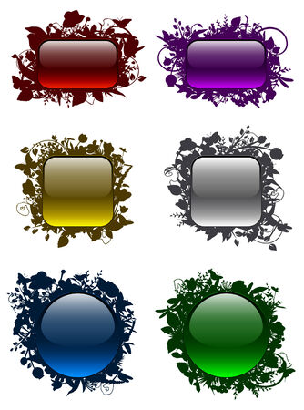 Glassy buttons in floral frames Stock Vector - 8600029