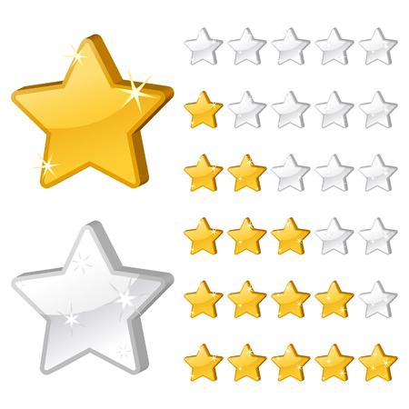 evaluacion: Estrellas de clasificaci�n para la web. Ilustraci�n 3D