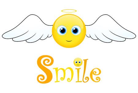 ali angelo: Sorriso felice con le ali Vettoriali