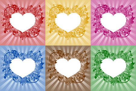 Hearts - frames with floral decorations Vector