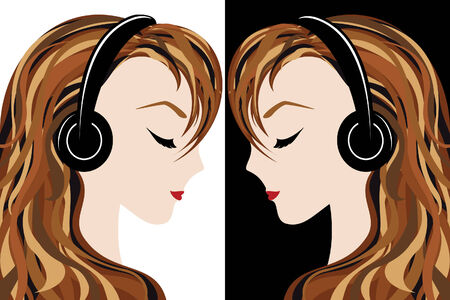 Girl listens to the music Stock Vector - 8778319