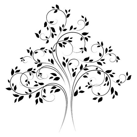 bomen zwart wit: Vector boom 4, zwarte variatie