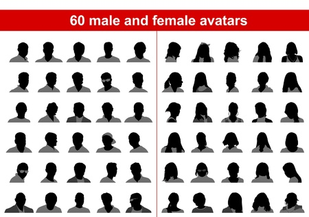 60 male and female avatars. Vector Stock Vector - 9253825