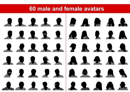 60 male and female avatars. Vector Vector